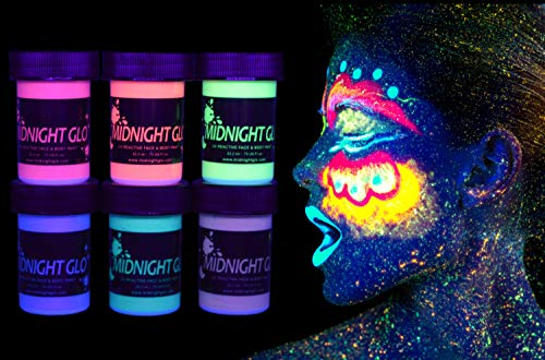 Midnight Glo Metallic Body Paint Face Makeup Body Shimmer Black Light Reactive Made In USA (6 Bottles 0.75 oz Each), Washable, Glows with Blacklight -