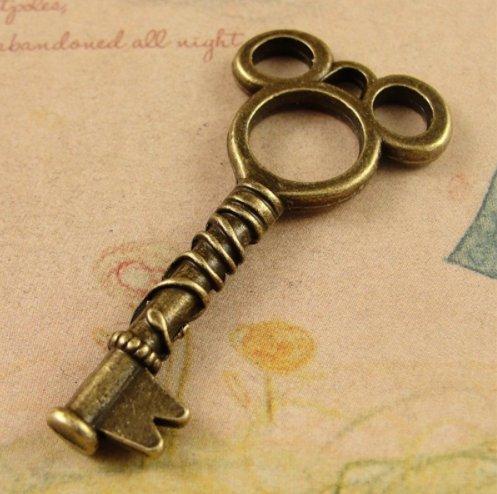 6 Jewelry Making Charms Pendant Key Mickey Bronze Charm Sett