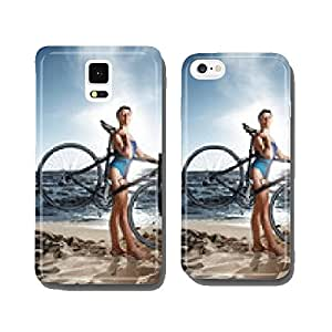 Young woman in swimsuit posing with road bike cell phone cover case Samsung S5