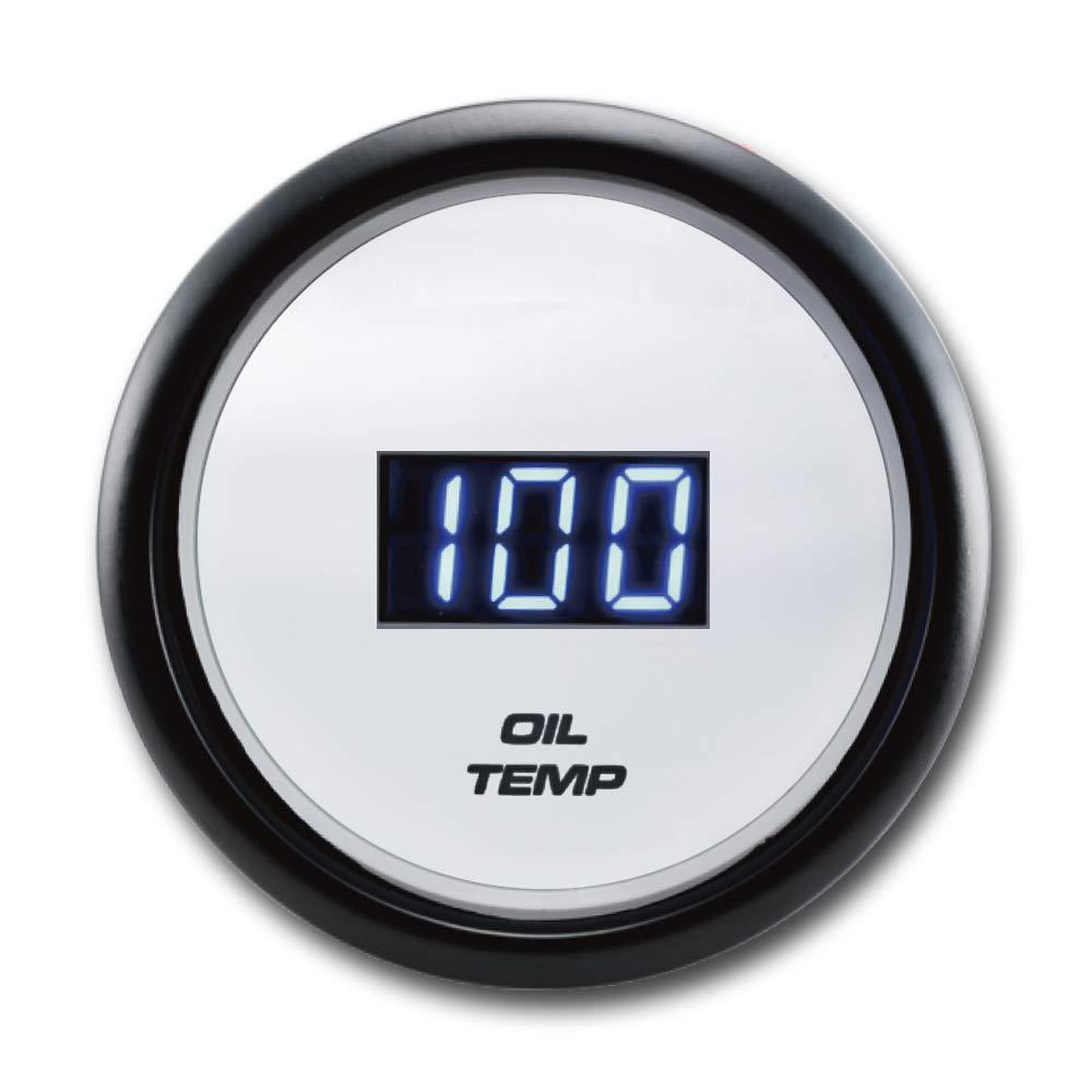 MOTOR METER RACING Electronic Digital Oil Temperature Gauge 2'' F Blue LED Display Waterproof Pin-Style Install Includes Sensor by MOTOR METER RACING