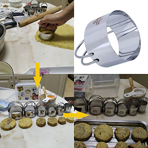 Pastry Cutter Set Biscuit Cutter Set (5 Circle+1Fluted Edge) Dough Blender Mixer Cookie Cutters Round Baking Dough Tools & Pastry Utensils with Egg Separator GIFT BOX! by M JINGMEI (Image #3)