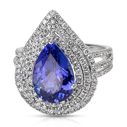 BRAND NEW Pear Shaped Tarzanite Ring in 18K White Gold with Diamonds (1.10 CTW) by Loved Luxuries