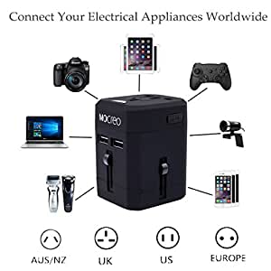 MOCREO Travel Adapter, International Travel Charger Adapter World Plug Adapter Built-in 2.1A Dual USB Ports - Universal AC Socket - Safety Fuse (Black)