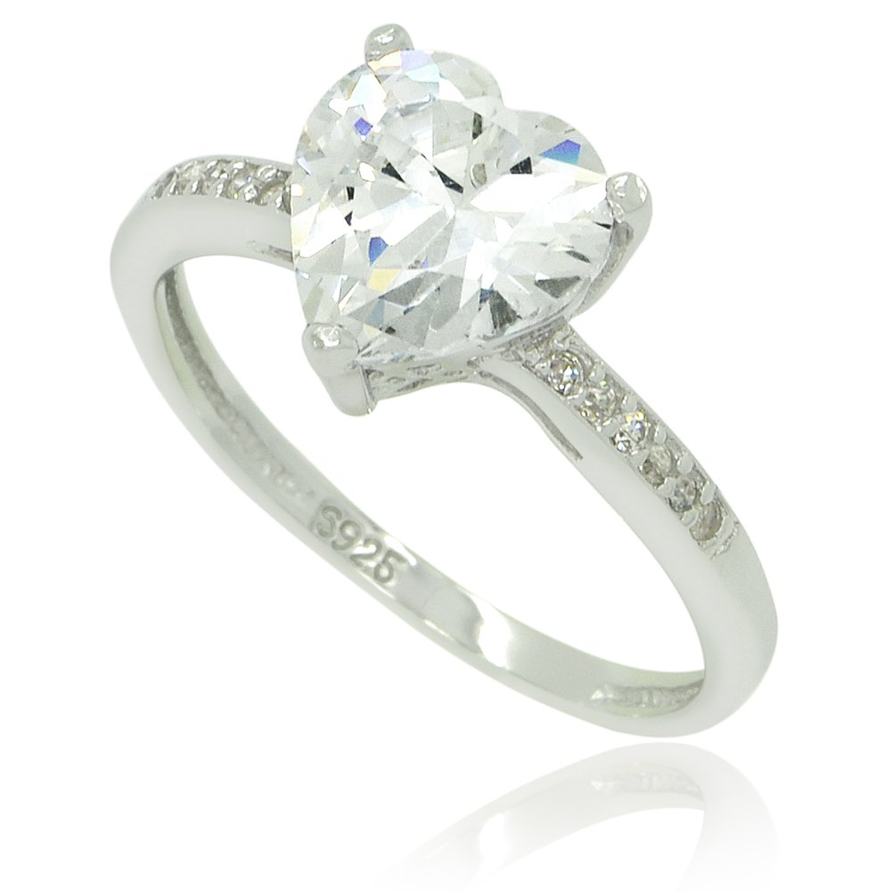 Sterling Silver CZ Heart Stackable Ring - 9