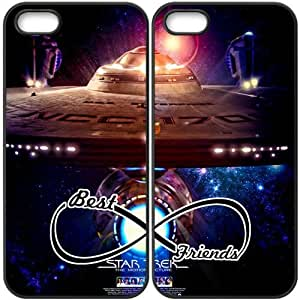 JiHuaiGu (TM) iPhone 5 5S funda Negro BFF Best Friends Star Trek personalizado temático iPhone 5 5S funda GO5638