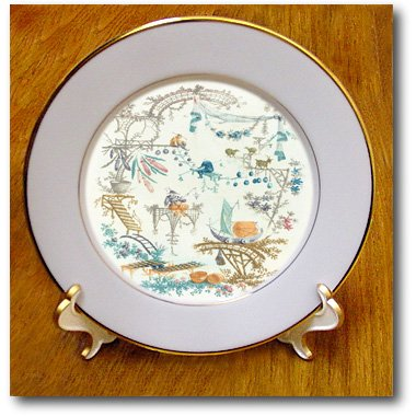 cp_130321_1 Florene Vintage II - French 1790 Print Of A Chinese Boat Scene.jpg - Plates - 8 inch Porcelain Plate