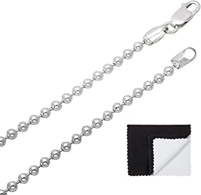 Made in Italy Solid .925 Sterling Silver 1.5 mm Round Bead Chain