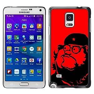 rígido protector delgado Shell Prima Delgada Casa Carcasa Funda Case Bandera Cover Armor para Samsung Galaxy Note 4 SM-N910F SM-N910K SM-N910C SM-N910W8 SM-N910U SM-N910 /Leader Communism Red Star/ STRONG