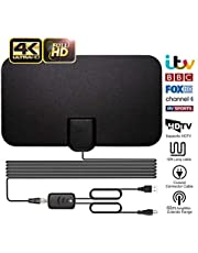 TV Aerial, Indoor TV Aerial, Over 60+Miles Long Range Access Freeview TV Aerial- Support 4K 1080P HD/VHF/UHF Freeview Channels for All Types Built-in Tuner Home Smart Television/Radio【Newest Version】