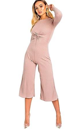 9484be50a00 Ikrush Womens Kansas Knot Front Wide Leg Jumpsuit Pink  Amazon.co.uk   Clothing