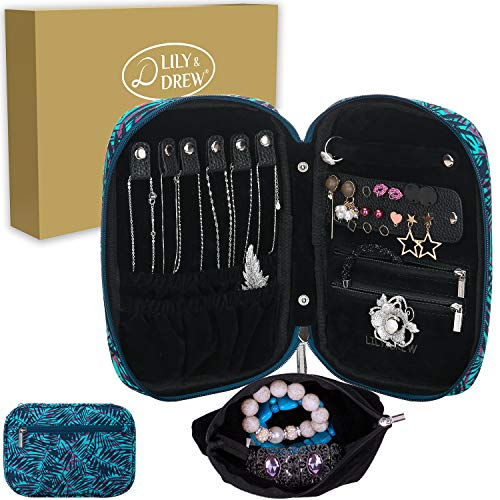 Travel Jewelry Case - Lily & Drew Travel Jewelry Storage Carrying Case Jewelry Organizer with Removable Pouch, in Gift Box (V1B Leaf Blue)