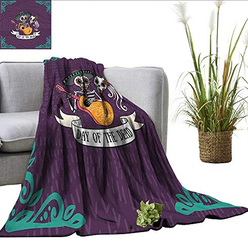 ScottDecor Day of The Dead Plush Throw Invitation to Traditional Celebration Party with Mexican Music Performance Blankets Multicolor W50 -