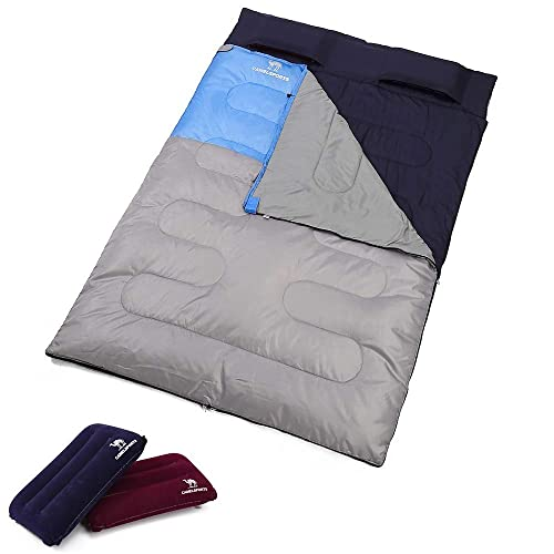 Camel Double Sleeping Bag Lightweight Camping Sleeping Bag With Pillows Converts Into 2 Waterproof Sleeping Bags For Kids Adult 3 Season Outdoor Hiking Backpacking Traveling