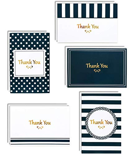 100 Thank You Cards Box Set with Gold Foil Letterpress | 4 x 6 Inches Bulk Blank Note Cards with Envelopes and Gold Stickers | Perfect for Wedding Bridal Shower Baby Shower Christmas Kids (Navy Blue) ()