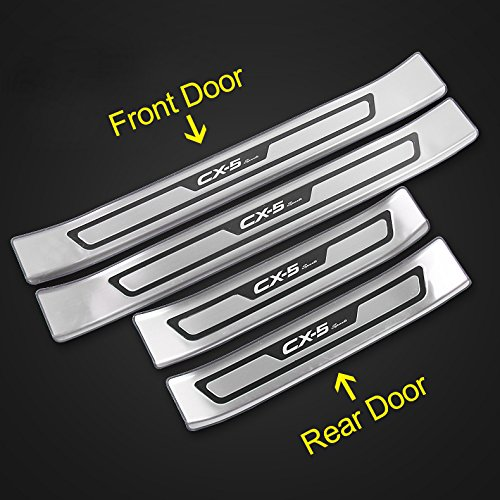 Black KPGDG 4 PCS Fit for All New Mazda CX-5 CX5 2017 2018 2019 Stainless Steel External Door Sill Scuff Plate Guard Sills Protector Trim