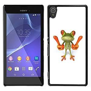 // PHONE CASE GIFT // Duro Estuche protector PC Cáscara Plástico Carcasa Funda Hard Protective Case for Sony Xperia T3 / Smart Frog Funny Cartoon Minimalist White /