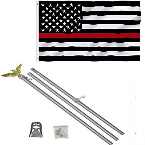 (AES 3x5 3'x5' USA Thin Red Line Fire Fighters Flag Aluminum Pole Kit Set Eagle Top Fade Resistant Double Stitched Premium Penant House Banner Grommets)