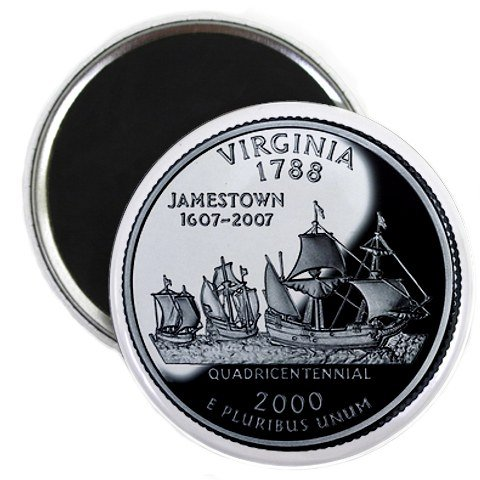 Virginia State Quarter Mint Image 2.25 inch Fridge Magnet