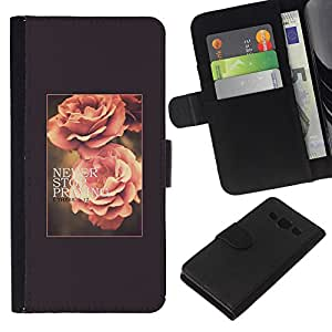 Planetar® Modelo colorido cuero carpeta tirón caso cubierta piel Holster Funda protección Samsung Galaxy A3 ( Rose Flower Spring Text Summer Vignette )