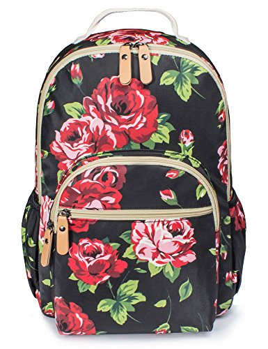 School Floral Backpack for Girls, Cute Women Fashion Laptop Back Pack Lightweight Book Bag Daypack Knapsack Black&Red