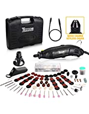 Rotary Tool, TECCPO 8,000-35,000RPM 5-Speed Variable Speed, Universal Keyless Chuck, 80 Accessories DREMEL Compatible, 4 Attachments and Carrying Case, Multi-Functional for House Crafting Projects