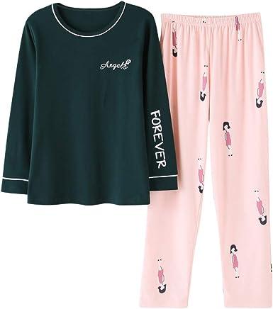 AFUPO Conjuntos de Pijama de Manga Larga para Mujer Pijamas de algodón de Punto Pijamas de Primavera para Mujer Cuello Redondo Casual Tallas Grandes Ropa de Dormir Trajes Ropa de hogar, MZB6607,