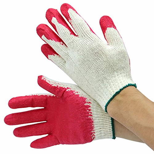 10 Pairs Red Latex Rubber Palm Coated Work Safety Gloves (Coated Gloves Palm Rubber)
