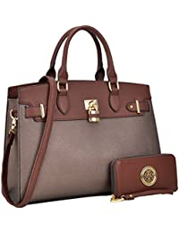 Women Handbag Vegan Leather Two-Tone Padlock Belted Satchel Top Handle Desginer Purse with Matching Wallet Set