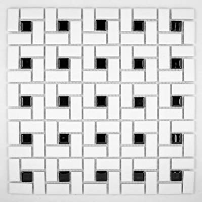 Spiral Pattern Porcelain Pinwheel Mosaic Tile Matte White with Shiny Black Dots