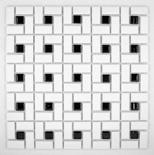 Spiral Pattern Porcelain Pinwheel Mosaic Tile Matte White with Shiny Black Dots Daltile Ceramic Tile Design Porcelain