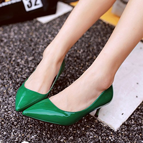 Tip, with single shoes fine with 5cm four seasons with low vocational high-heeled shoes, Green 39 by YLSZ-High heels (Image #1)