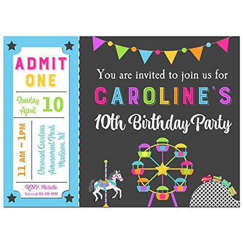 Amazon Amusement Park Invitations With ANY Wording Printed Or
