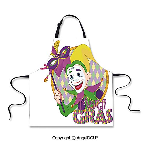 SCOXIXI Adult Kitchen Dinner Party Cooking Apron Cartoon Design of Mardi Gras Jester Smiling and Holding a Mask Harlequin Figure Decorative Waterproof Aprons for Restaurant BBQ Grill.