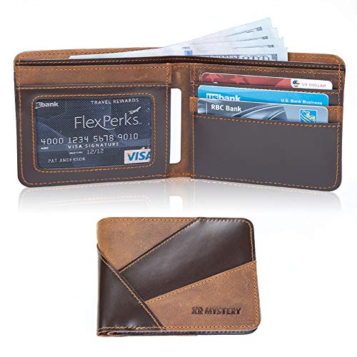 XR MYSTERY Wallet for Men Slim Bifold Genuine Leather Front Pocket Wallets Two Color Stitching Retro Men
