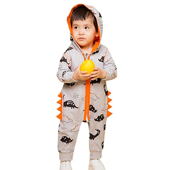 Amazon.com: kaiCran Baby Layette Set Infant Baby Boy Girl Dinosaur Zipper Hooded Romper Jumpsuit Outfits Clothes 0-24 Months: Clothing