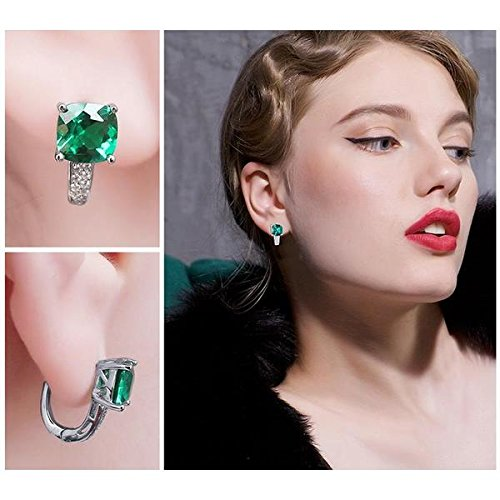 Vera Nova Jewelry Sophisticated 3.1ct Cushion Synthetic Emerald 925 Sterling Silver Earrings