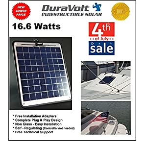 Solar-Charger-166-Watt-1-Amp-Boat-RV-Marine-Trolling-Motor-Solar-Panel-Semi-Flexible-Self-Regulating-12-Volt-No-experience-Plug-Play-Design-Dimensions-141-L-x-157-W-x-14-Thick-10-cable