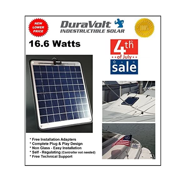 Solar-Charger-166-Watt-1-Amp-Boat-RV-Marine-Trolling-Motor-Solar-Panel-Semi-Flexible-Self-Regulating-12-Volt-No-experience-Plug-Play-Design-Dimensions-141-L-x-157-W-x-14-Thick-10-cable