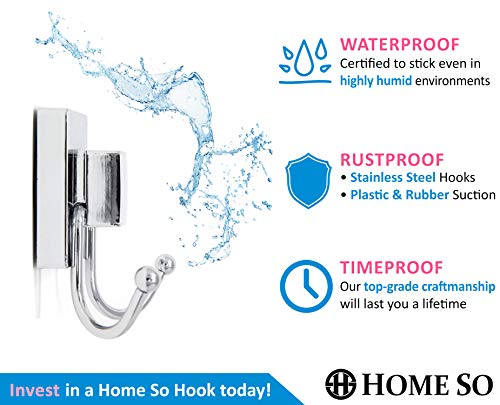 HOME Hooks with Suction Prisma Collection Shower Hanger Robe,
