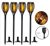 ZJQTT Solar Torch Light Upgraded-Flickering Flames Torches Lights-Outdoor Landscape Decoration Lighting Dusk to Dawn Auto On/Off for Garden Pathway Driveway 4Pack,Black4packs