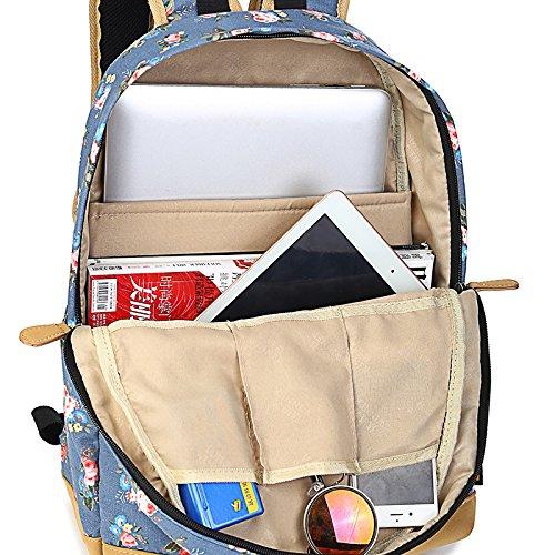 Süße Floral Leinwand Schule Rucksack Laptop Bag Travel Rucksack Casual Tagesrucksack mehrfarbig Style 2 Stil Nr. 4
