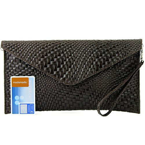 Evening Handbag Leather Modamoda bag ital underarm bag bag T106F Wrist Clutch Dark Brown bag de pattern Braid HAw0qf