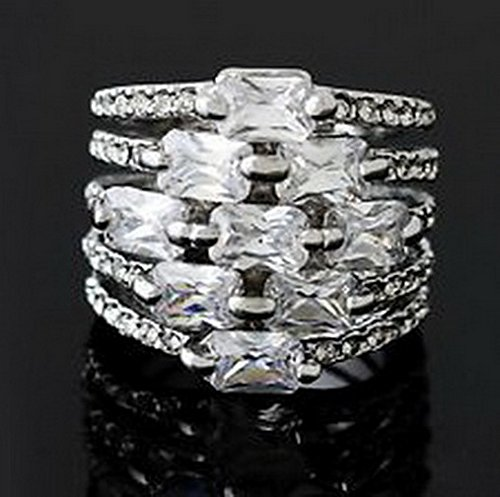 jacob alex ring Jewelry Band White Zircon Ring Size6 Womens 10K White Gold Filled Wedding (10k Ring Zircon)