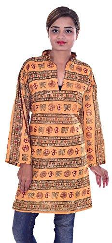 Indian-100-Cotton-Top-Kurta-Women-Ethnic-Tunic-Kurti-plus-size-OM-print-Yellow-Color