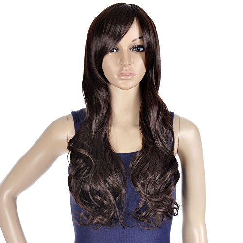 Women's Cosplay Costume Accessory Long Wavy Brown Wig w/ Side Bangs,Dark (D W Costumes)