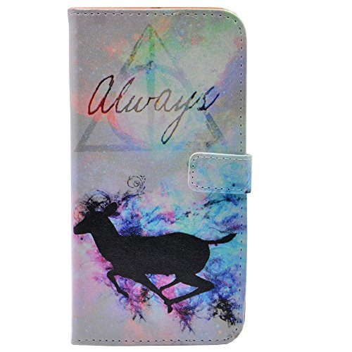 - iPhone 5S Case - Unique Deathly Hallows Always Deer Splatter Pattern Slim Wallet Card Flip Stand PU Leather Pouch Case Cover for Apple iPhone 5 5S SE Cool as Great Gift