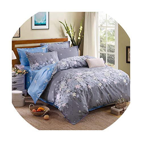 QianQianStore Grey Bedding Set 2018 Summer Bed Linens 3Or 4Pcs/Set Duvet Cover Set Pastoral Bed Set Kids/Adult Bedding Bedclothes Queen Kin,Gre Wants Blue Rosemary,Queen