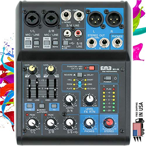 EMB Pro MX06 6 Channel Mixer Console with DSP Digital Effect +48V Phamtom Power (Best Preamp Processor 2019)