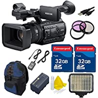 Sony PXW-Z150 4K XDCAM Camcorder 64GB Bundle with 64GB in Memory + LED Video Light Panel + 3pc Filter Kit (UV, CPL, FLD) + Accessory Kit - International Version