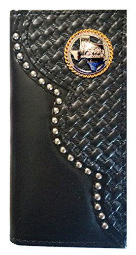 MADE Proudly Checkbook Basket Weave Long Texas Leather Praying THE Black Cowboy Church Custom IN USA Wallet wp7fPzqx